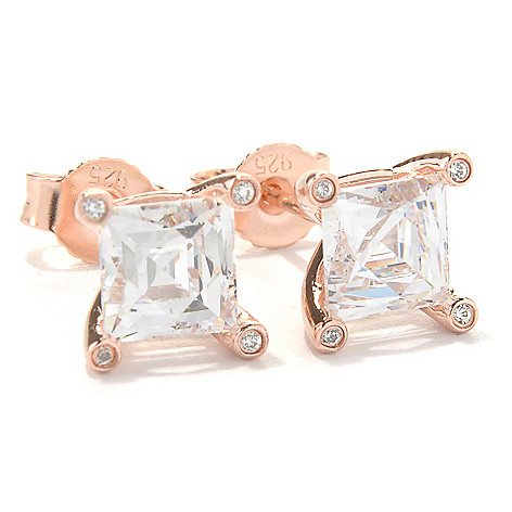 128-155 - TYCOON 2.58 DEW Square Prong Set Simulated Diamond Stud Earrings