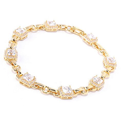 128-157 - TYCOON Square & Round Cut Simulated Diamond Halo Link Bracelet