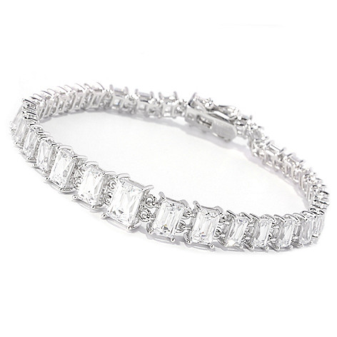 128-158 - TYCOON Platinum Embraced™ Rectangular Cut Simulated Diamond Line Bracelet