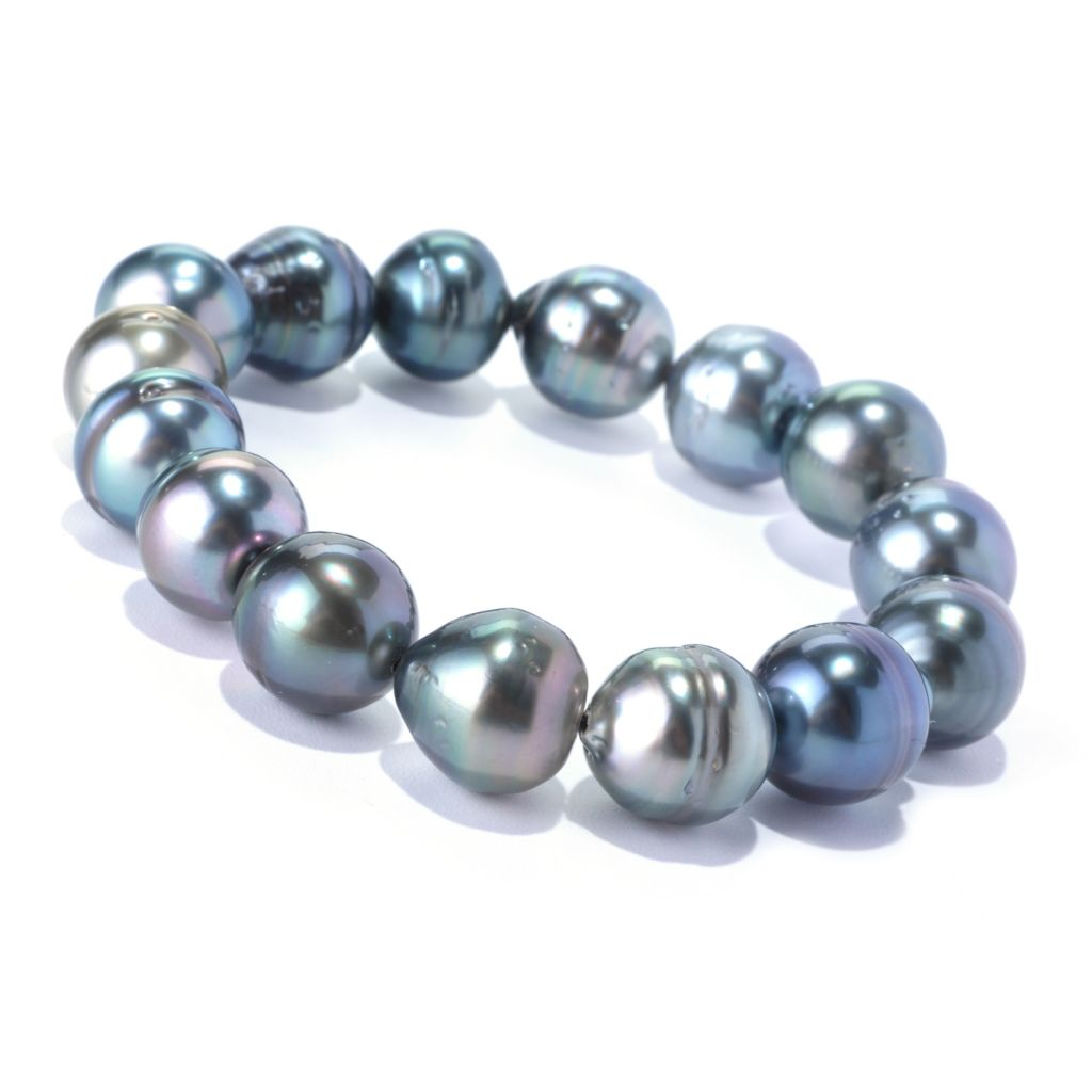 128-172 - 12-13mm Semi-Round Black Tahitian Cultured Pearl Stretch Bracelet