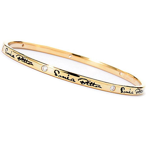 128-194 - Sonia Bitton Burnished Set Simulated Diamond Signature Slip-on Bangle Bracelet