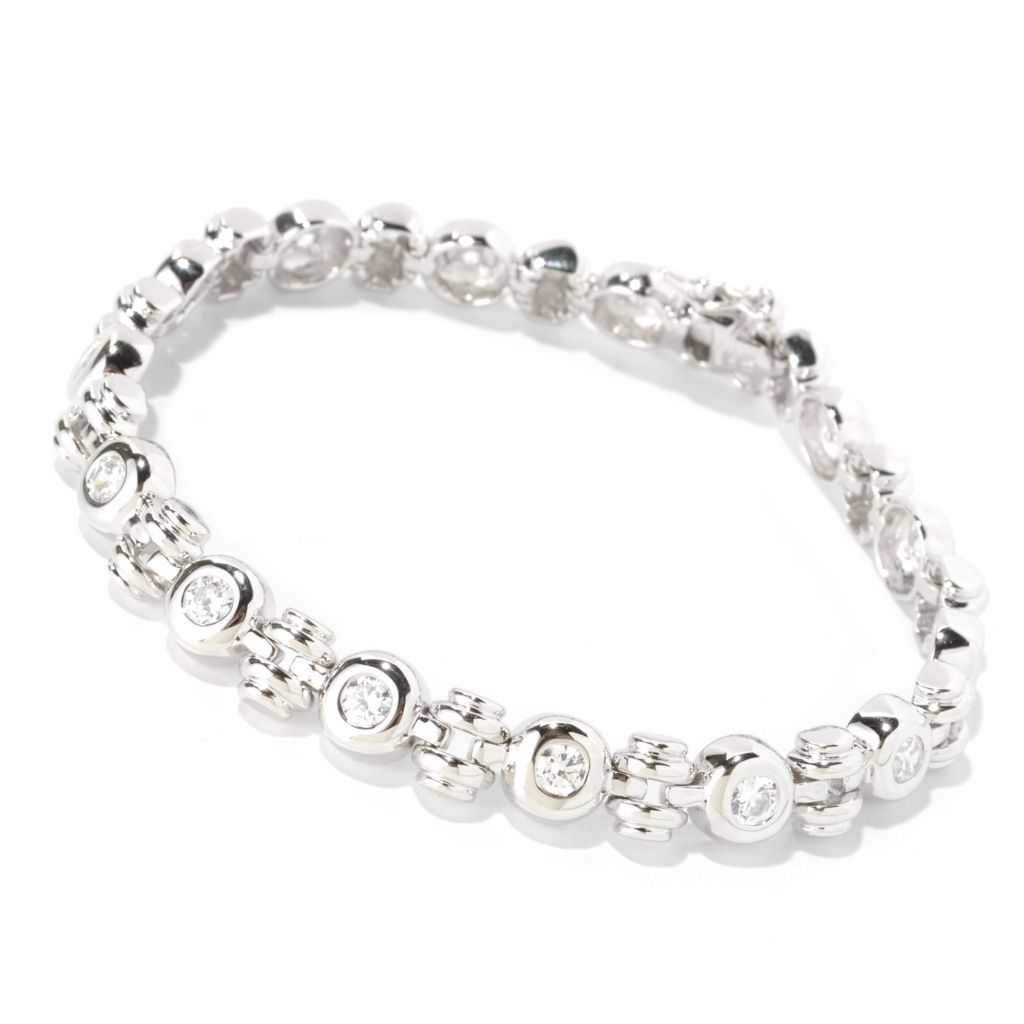 128-198 - Sonia Bitton Round Cut Bezel Set Simulated Diamond Link Bracelet