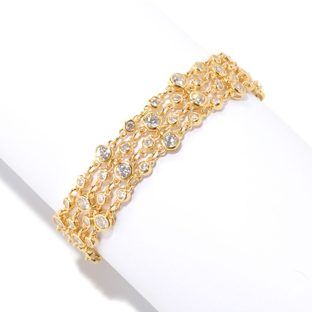 128-200 - Sonia Bitton Round Cut Bezel Set Simulated Diamond Four-Row Cable Link Bracelet