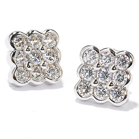 128-209 - Sonia Bitton Full Round Cut Simulated Diamond Square Shaped Stud Earrings