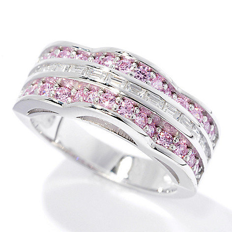 128-213 - Brilliante® Platinum Embraced™ Round & Baguette Channel Simulated Diamond Ring