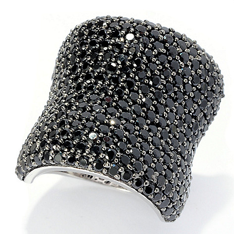 128-219 - Gem Treasures® Sterling Silver Pave Set Gemstone Wide Band Ring