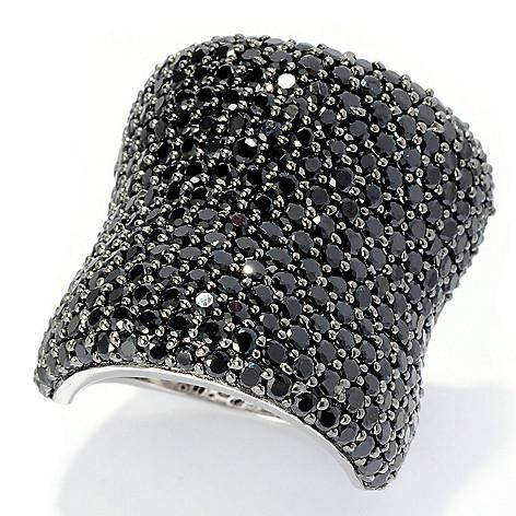 128-219 - Gem Treasures Sterling Silver Pave Set Gemstone Wide Band Ring