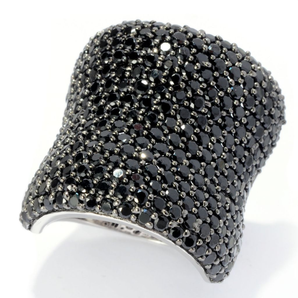 128-219 - Gem Treasures Sterling Silver Pave Set Gemstone Wide Band Ring