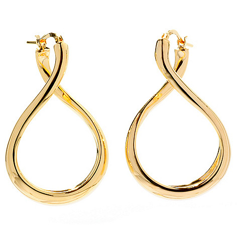 128-226 - Portofino 18K Gold Embraced™ 1.5'' Polished Twist Drop Earrings