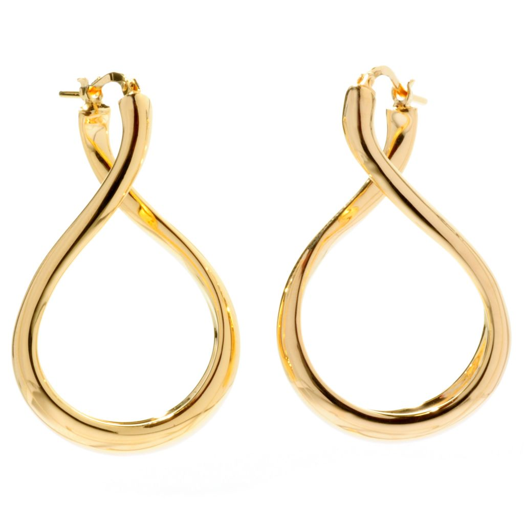 "128-226 - Portofino 18K Gold Embraced™ 1.5"" Polished Twist Drop Earrings"