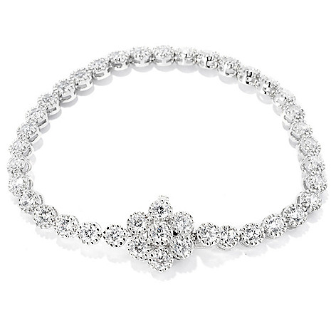 128-228 - Sonia Bitton Fancy Set ''Mimosa'' Simulated Diamond Tennis Bracelet w/ Flower Clasp