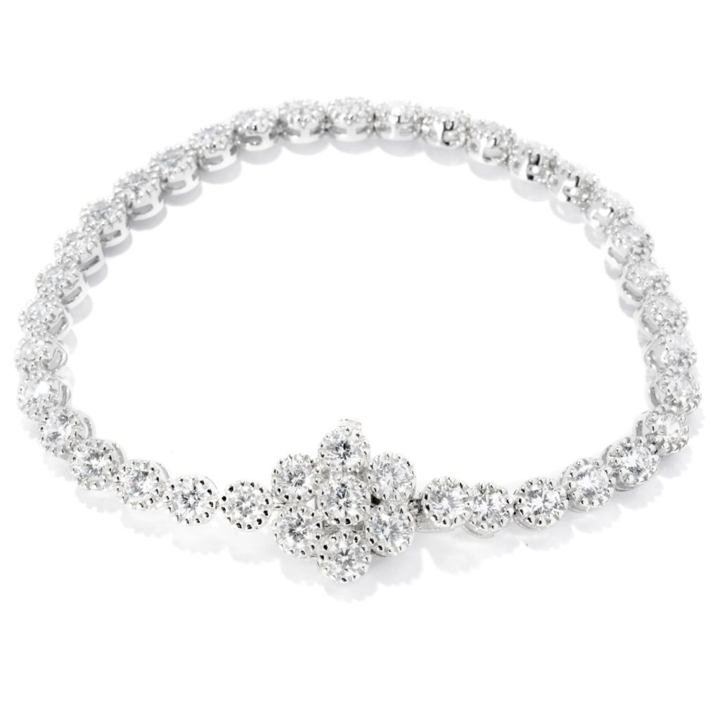 "128-228 - Sonia Bitton Fancy Set ""Mimosa"" Simulated Diamond Tennis Bracelet w/ Flower Clasp"