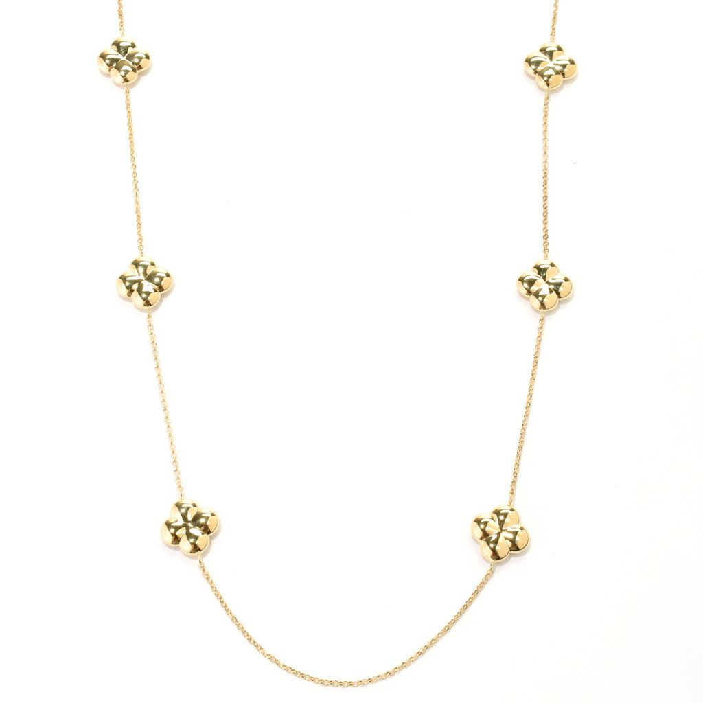 "128-235 - Charles Garnier Gold Embraced™ 28"" Electroform Polished Clover Station Necklace"