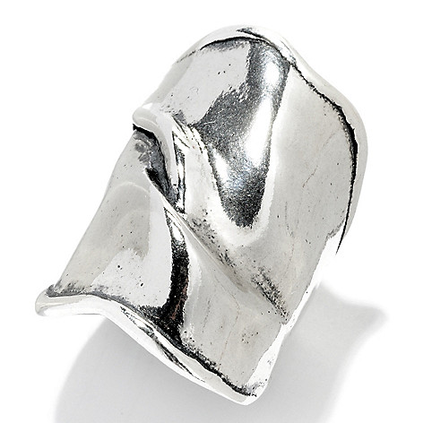 128-243 - Passage to Israel Sterling Silver Elongated Mediterranean Wave Wide Band Ring