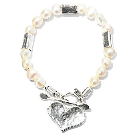 128-251 - Passage to Israel Sterling Silver Cultured Freshwater Pearl Heart Bracelet