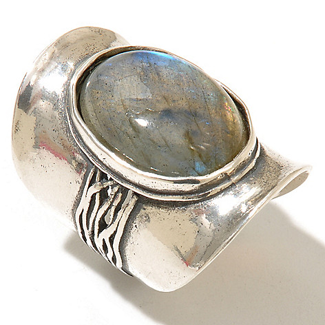 128-252 - Passage to Israel Sterling Silver 18 x 13mm Labradorite Wide Band Ring