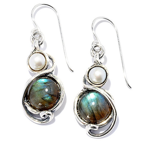128-253 - Passage to Israel™ Sterling Silver 10mm Labradorite & Cultured Freshwater Pearl Drop Earrings