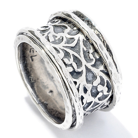 128-255 - Passage to Israel™ Sterling Silver Oxidized Scroll Wide Band Spinner Ring