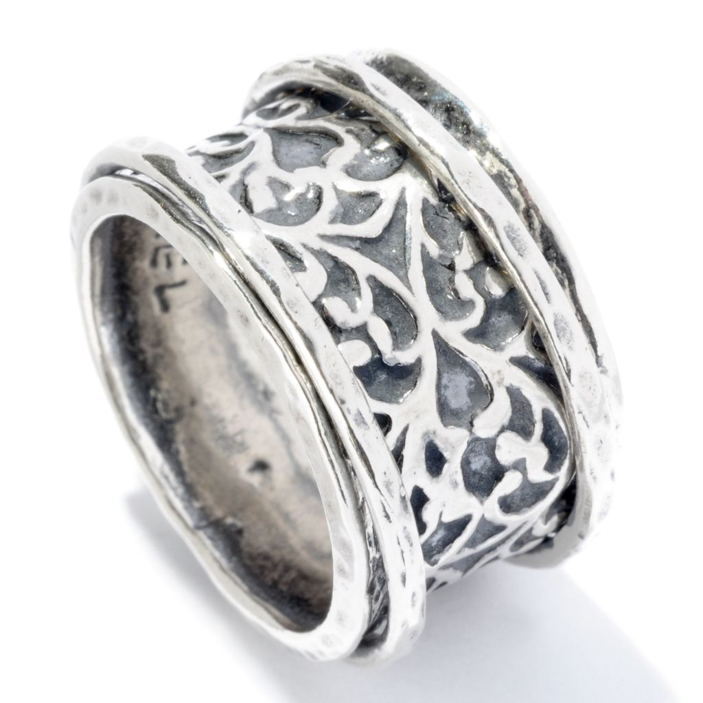 128-255 - Passage to Israel Sterling Silver Oxidized Scroll Wide Band Spinner Ring