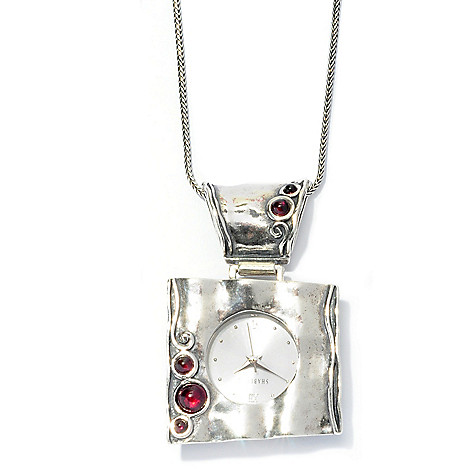 128-257 - Passage to Israel Sterling Silver Garnet Accented Watch Pendant w/ 24'' Chain