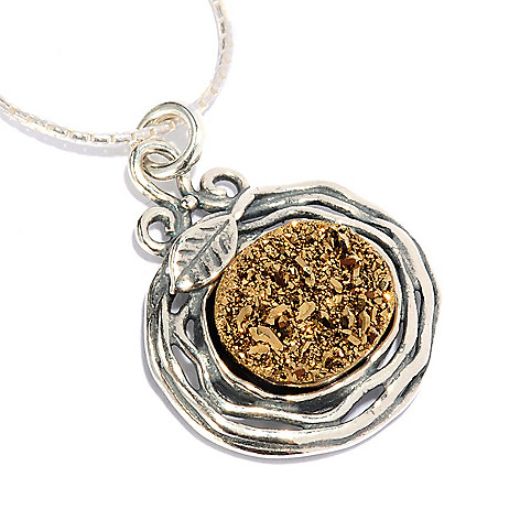 128-258 - Passage to Israel Sterling Silver 12 x 10mm Drusy Hammered 18'' Necklace