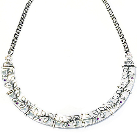128-259 - Passage to Israel Sterling Silver 15'' Amethyst Leaf Design Link Necklace