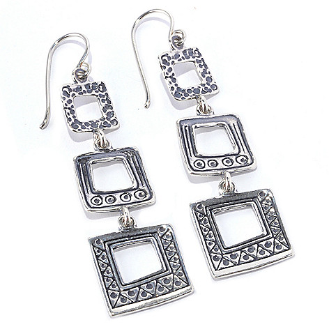 128-262 - Passage to Israel Sterling Silver 2.5'' Hammered Triple Square Dangle Earrings