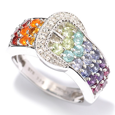 128-267 - NYC II 1.10ctw Multi Gemstone Exotic Rainbow Buckle Ring