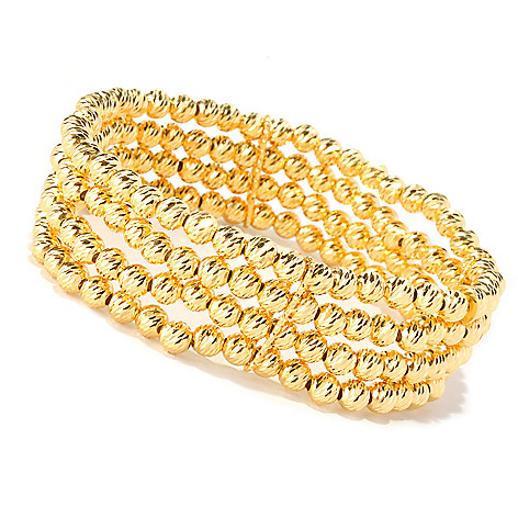 128-270 - Scintilloro™ Gold Embraced™ 7.25'' Diamond-Cut Four-Row Stretch Bracelet