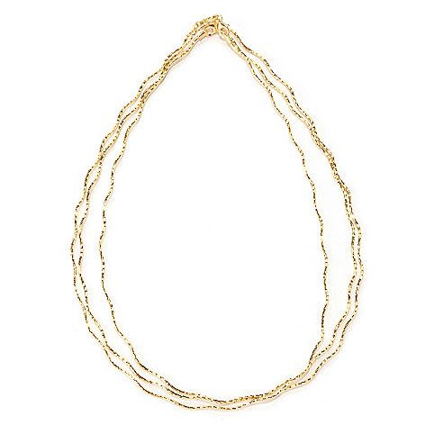 128-273 - Scintilloro™ Gold Embraced™ Set of Three 18'' Diamond Cut Wavy Necklaces