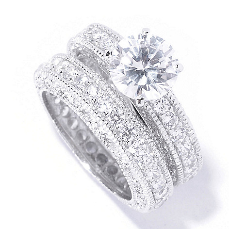 128-275 - Brilliante® Platinum Embraced™ 3.93 DEW Round Cut Simulated Diamond Two-Piece Ring Set