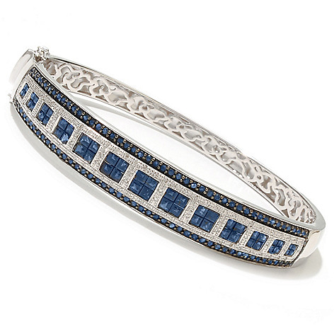 128-282 - Gem Treasures Sterling Silver 7.5'' Blue Sapphire & Diamond Square Bracelet