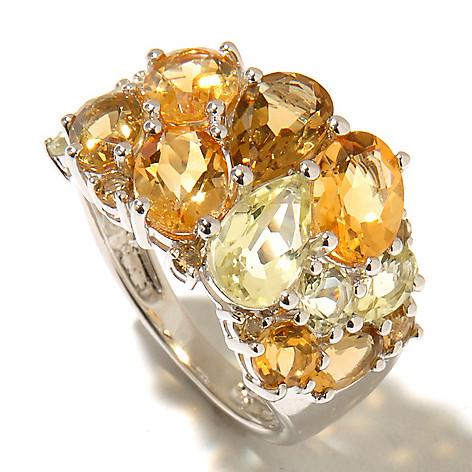 128-283 - Gem Treasures Sterling Silver 3.81ctw Multi Shaped Quartz & Citrine Ring