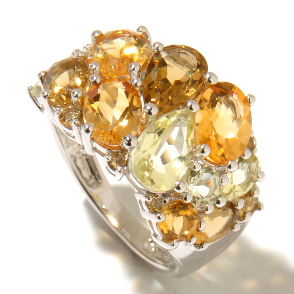 128-283 - Gem Treasures Sterling Silver 3.81ctw Multi Shaped Quartz & Citrine Ring
