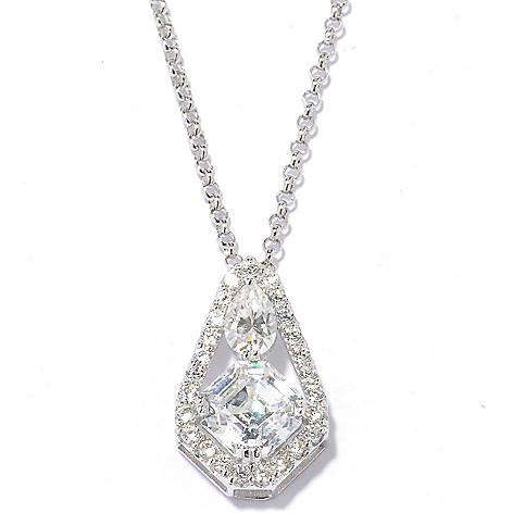 128-289 - Brilliante® Platinum Embraced™ 2.73 DEW Asscher Simulated Diamond Pendant w/ Chain
