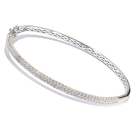 128-290 - Brilliante® Platinum Embraced™ Round Cut Pave Set Simulated Diamond Hinged Bangle Bracelet