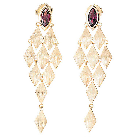 128-293 - Michelle Albala Marquise Shaped Gemstone 2'' Brushed Chandelier Earrings