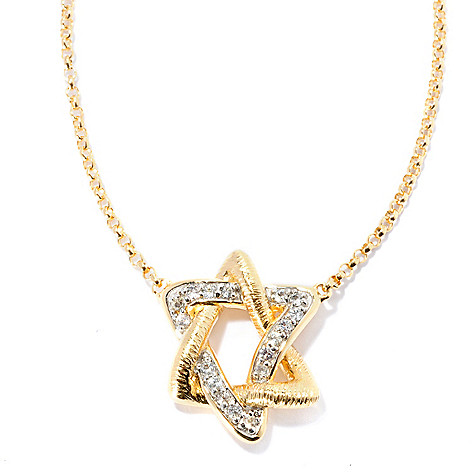 128-296 - Michelle Albala 20'' White Sapphire Star of David Brushed Necklace