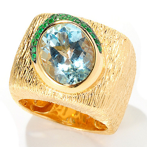 128-297 - Michelle Albala Multi Gemstone Brushed Cigar Band Ring