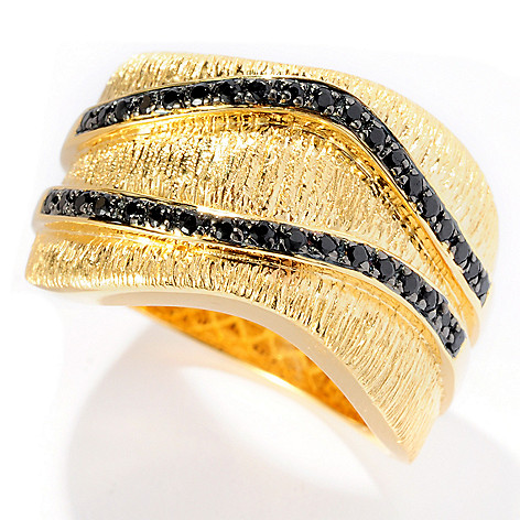 128-299 - Michelle Albala Black Spinel Brushed Wave Band Ring