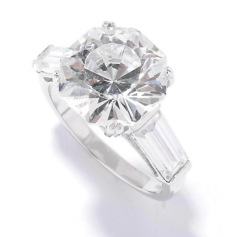 128-300 - Brilliante® Platinum Embraced™ 8.68 DEW Fancy Cut Simulated Diamond Baguette Ring
