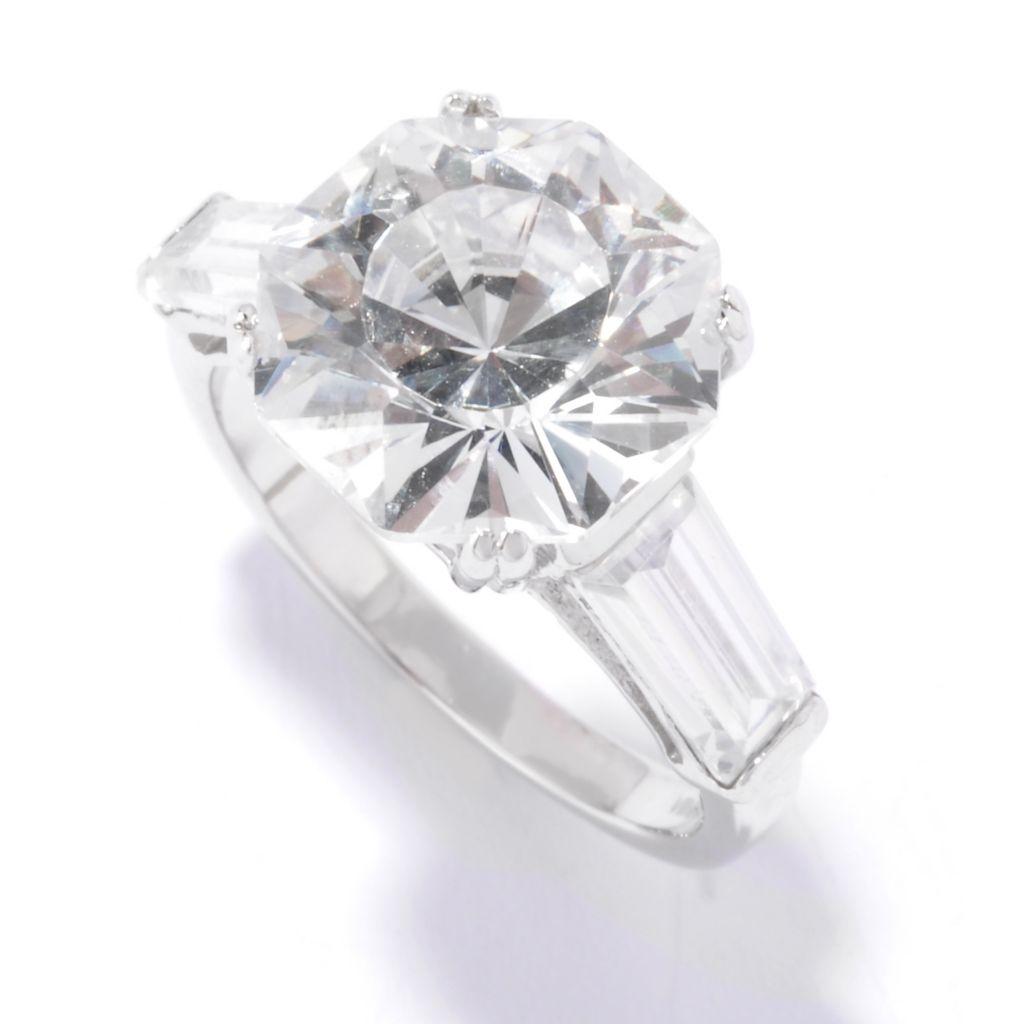128-300 - Brilliante® Platinum Embraced™ 8.68 DEW Fancy Cut Simulated Diamond Baguette Ring