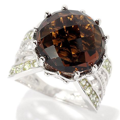 128-303 - Gem Insider Sterling Silver 8.50ctw Cognac Quartz, Peridot & Diamond Ring