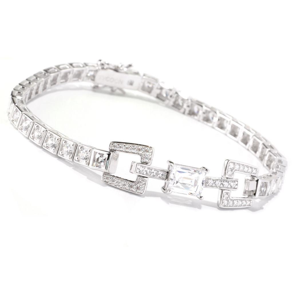 128-310 - TYCOON Platinum Embraced™ Rectangular Cut Simulated Diamond Link Line Bracelet