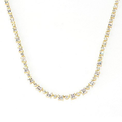 128-312 - TYCOON Round & Square Cut Polished Graduated Simulated Diamond Tennis Necklace