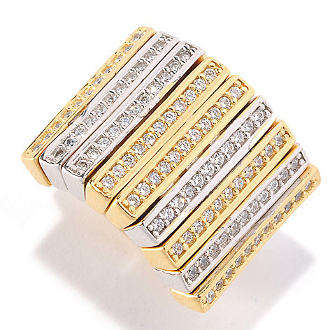128-317 - Sonia Bitton Two-tone Round Cut Simulated Diamond Moveable Panel Curved Ring