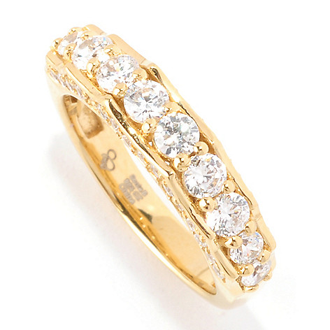 128-320 - Sonia Bitton 1.18 DEW Round Cut Scalloped Side Simulated Diamond Band Ring