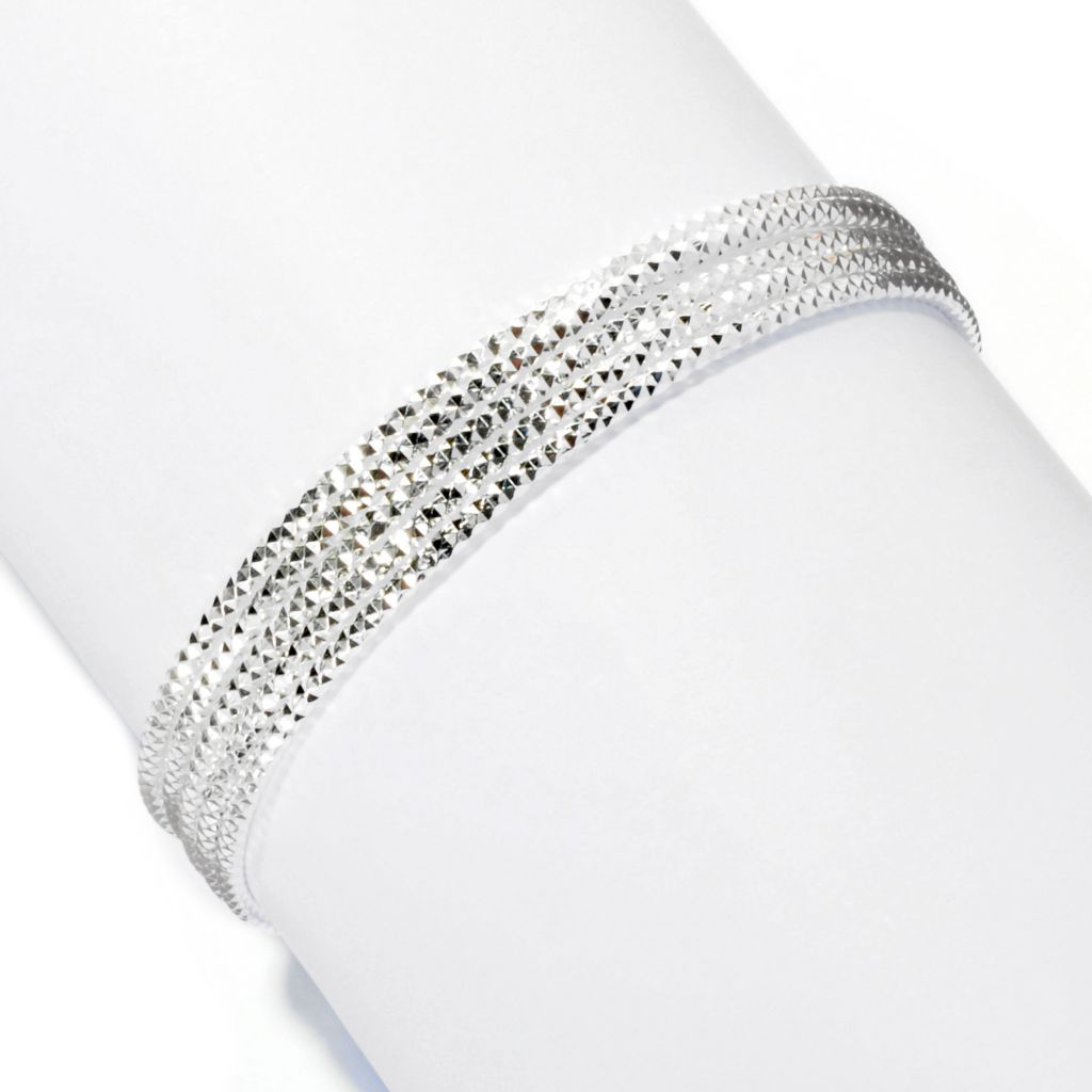 128-331 - SempreSilver® Set of Five Twisted Bangle Bracelets