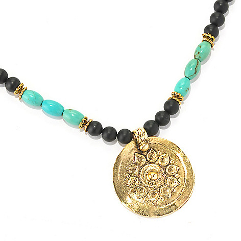 128-334 - mariechavez 30'' Turquoise & Gemstone Beaded Sun Necklace
