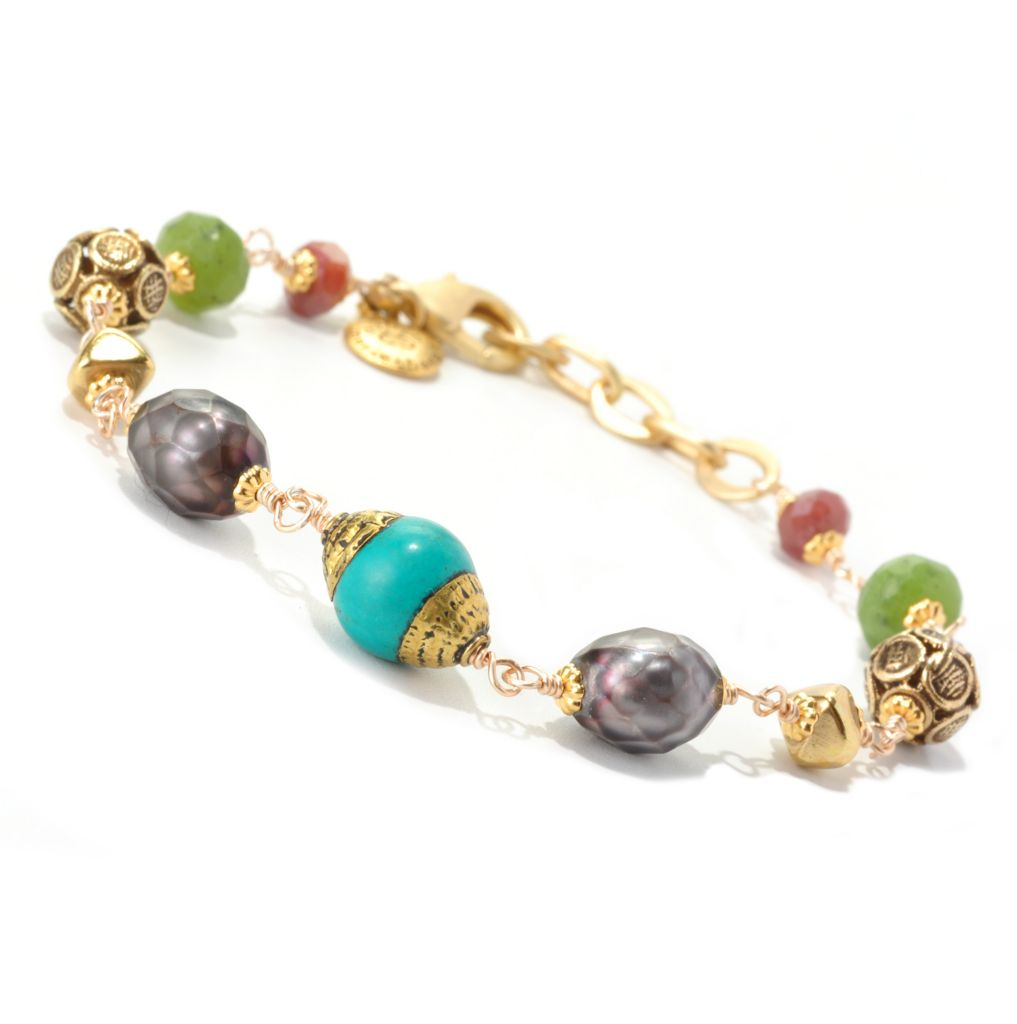 "128-336 - mariechavez 7.5"" Cultured Freshwater Pearl & Multi Gemstone Beaded Bracelet"